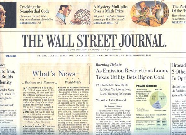 '' Outfit frappe encore '' Masthead-wall-street-journal