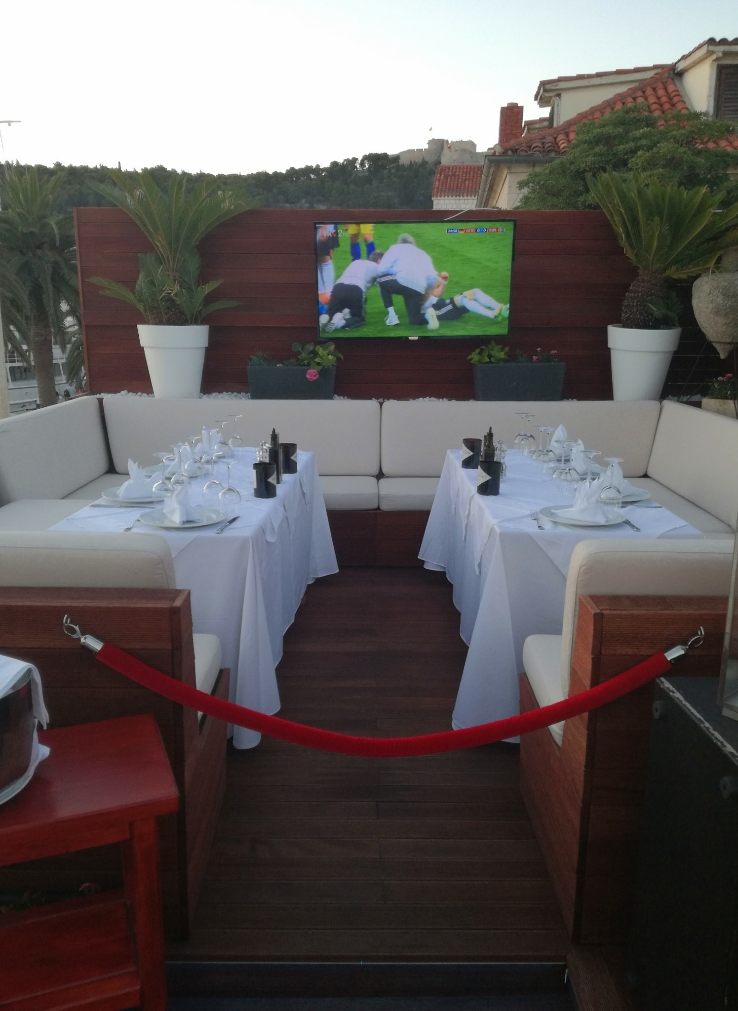 Private area in restaurant Gariful where the biggest soccer stars watched World Cup Russia 2018